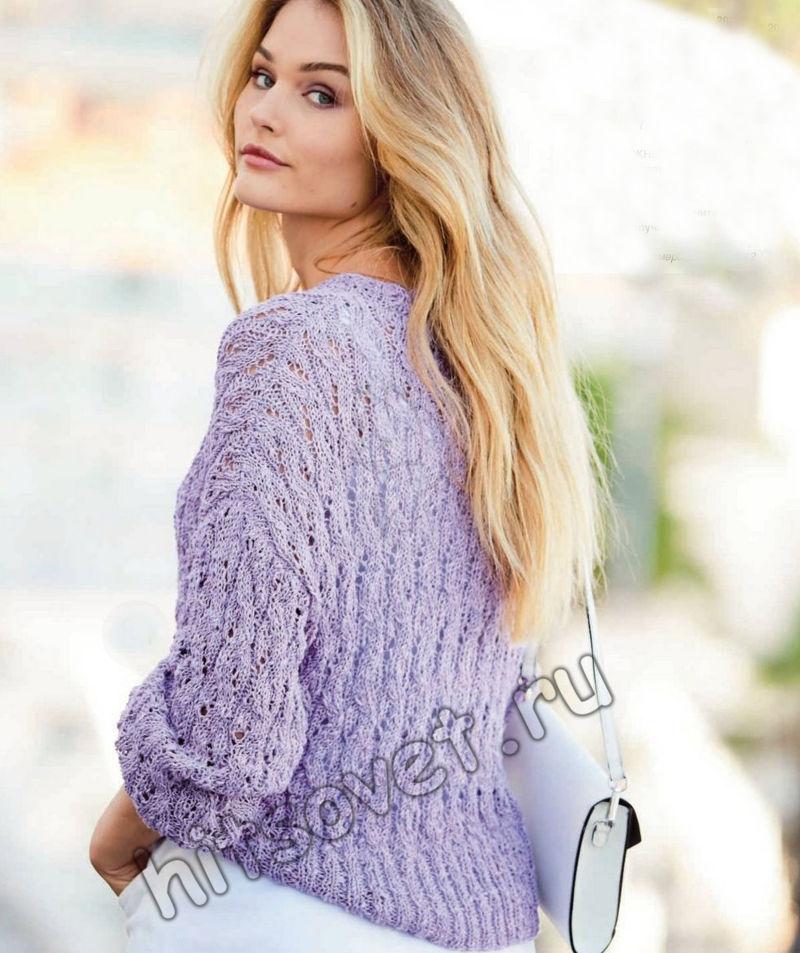 Летний ажурный пуловер лавандового цвета