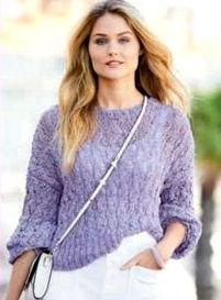 Летний ажурный пуловер лавандового цвета, фото 2.