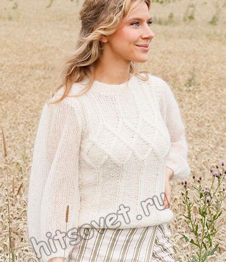 Вязаный белый джемпер White Meadow, фото 1.