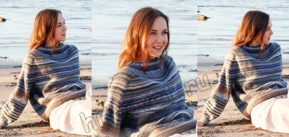 Свободный свитер спицами Evening Sun, фото.