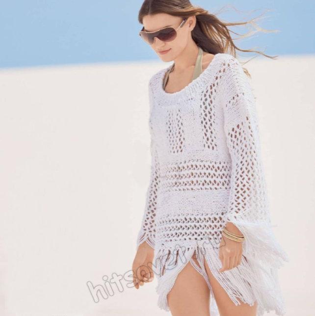 Белый летний пуловер с длиной бахромой