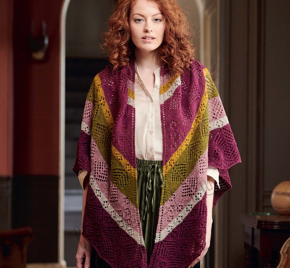 Вязание шали Heather Blosson