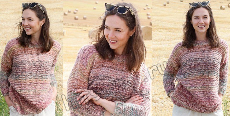Модный свитер спицами Painted Rose, фото 1.