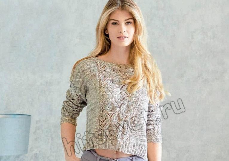 Модный короткий пуловер для девушки спицами