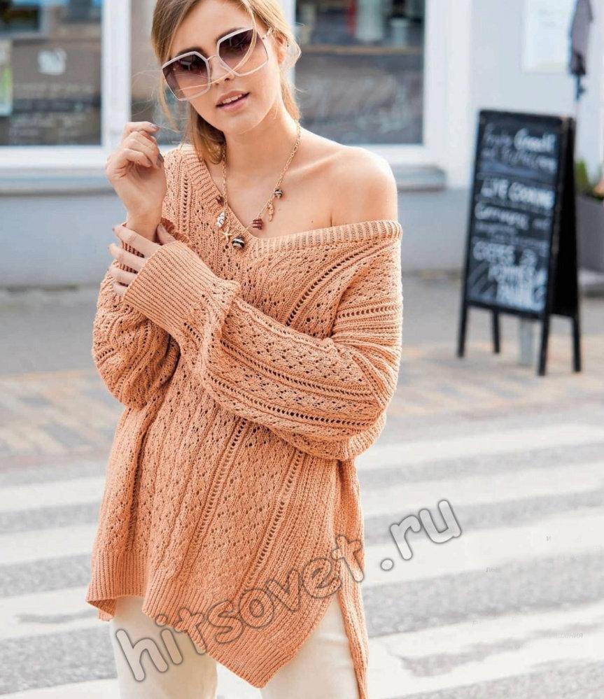 Свободный терракотовый пуловер спицами
