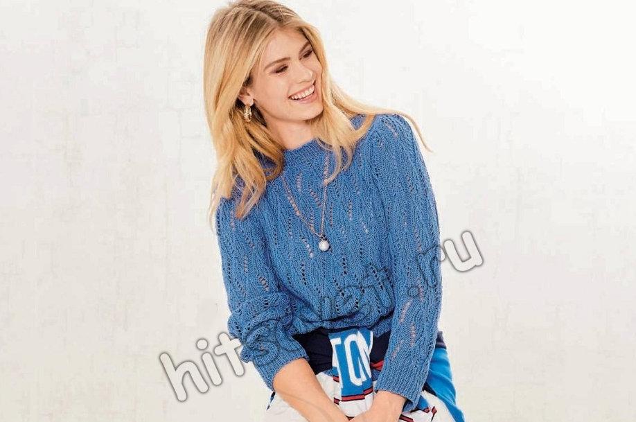 Женский вязаный пуловер с дырчатым узором, фото.