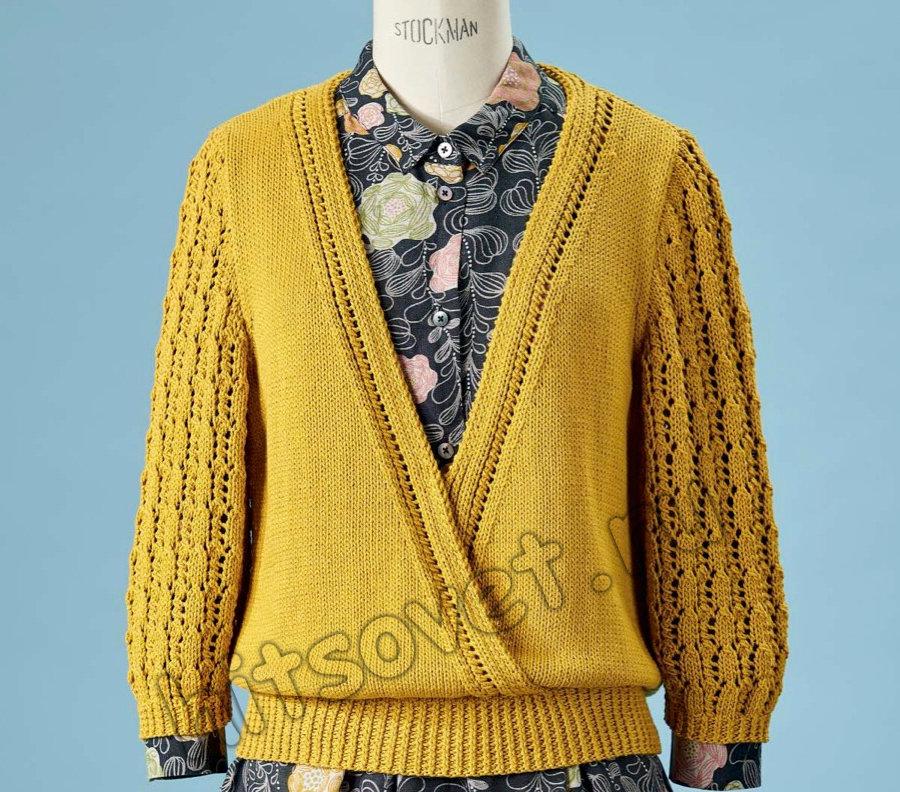 Пуловер спицами с запахом Saltburn, фото 1.