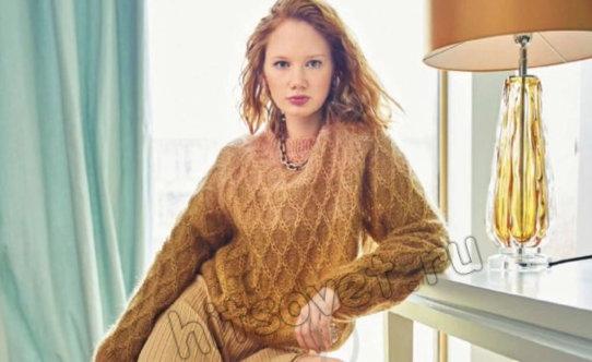 Модный свободный женский пуловер из ромбов Tadi, фото.