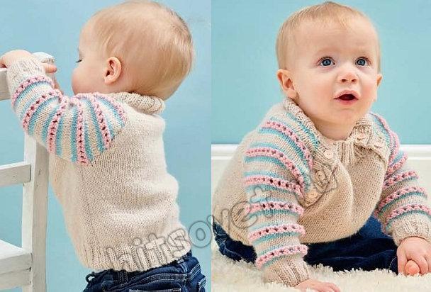Вязаный джемпер для малыша Candy stripes, фото 2.