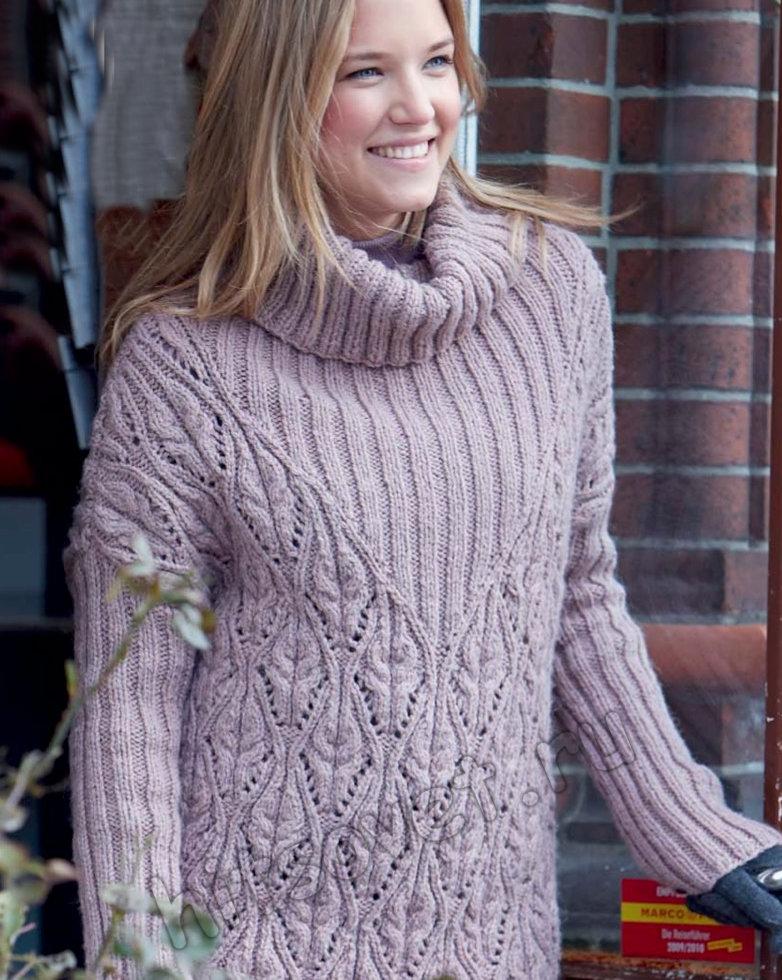 Модный женский свитер с объемным воротником спицами