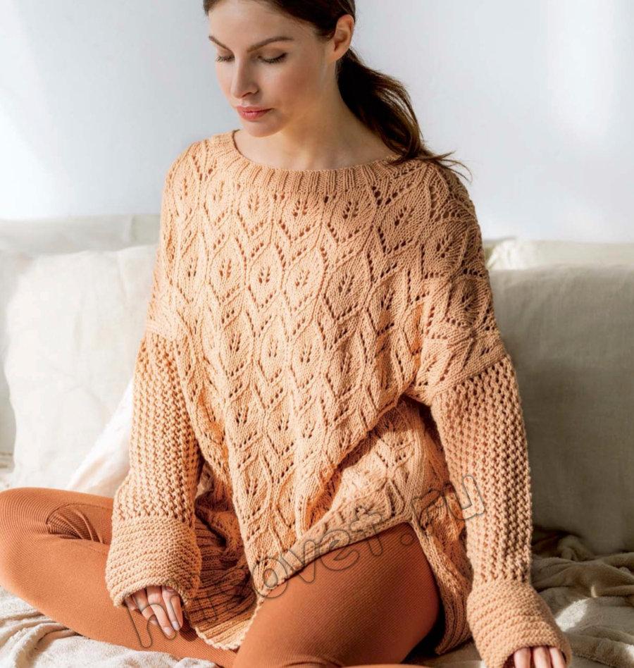 Мягкий ажурный пуловер оверсайз спицами