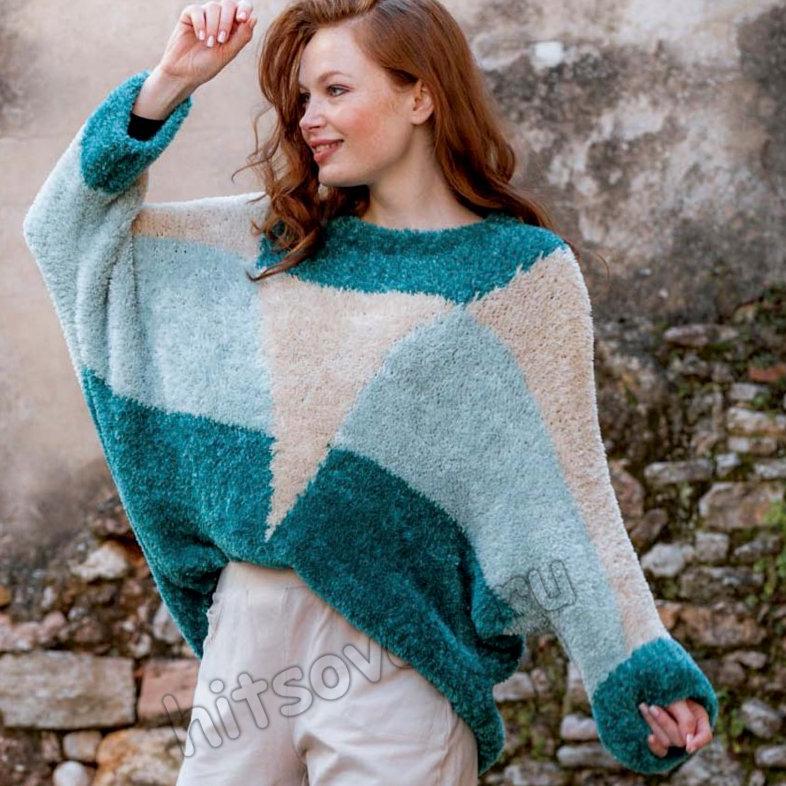 Трехцветный модный пуловер оверсайз спицами, фото 1.