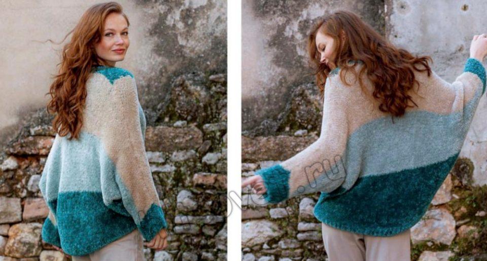 Трехцветный модный пуловер оверсайз спицами, фото 2.