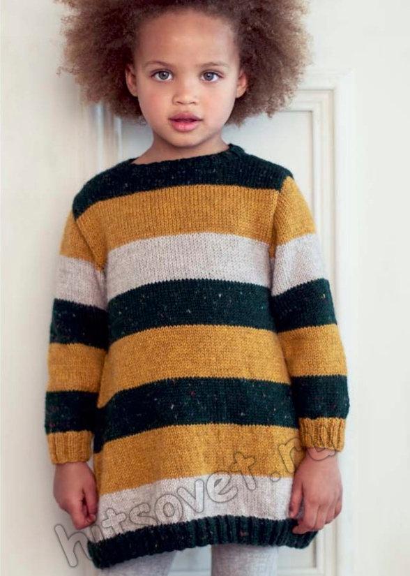 Вязаное спицами детское платье в полоску